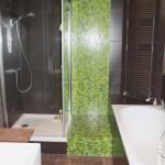 Douche avec intégration d'une bande de mosaïque au sein du carrelage Nantes 44